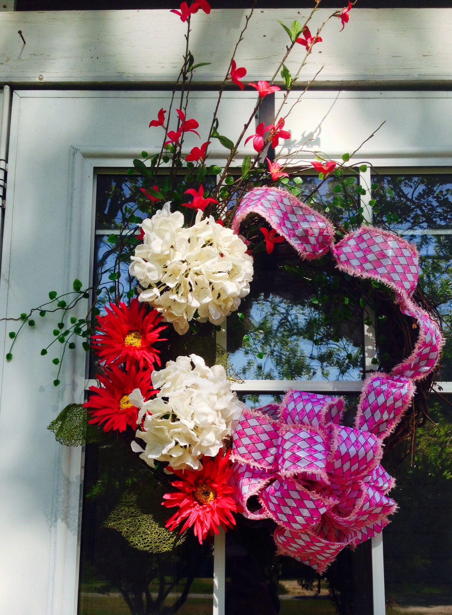 Summer Wreath Pink Flowers