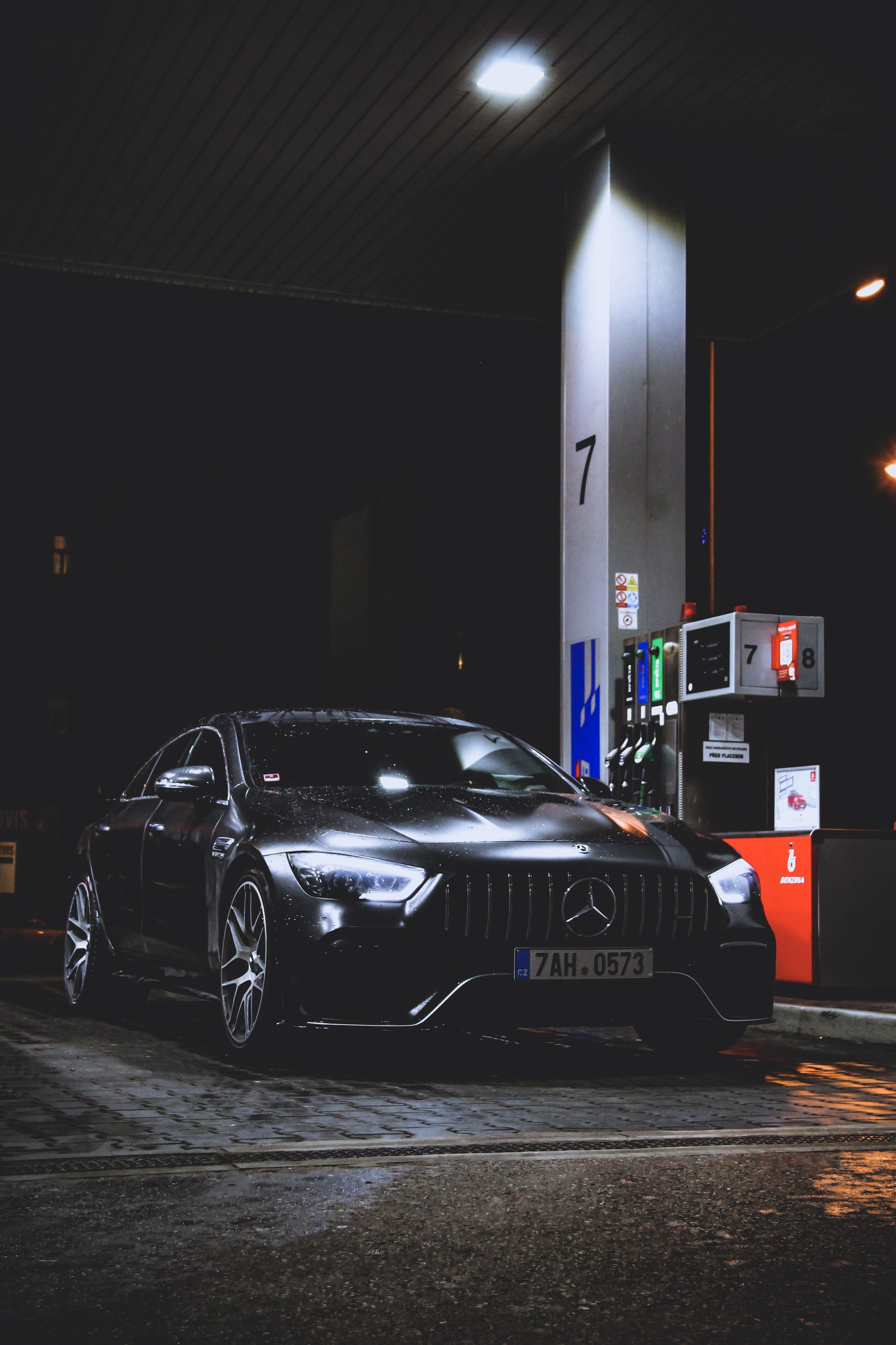 Black Mercedes Benz Car At Gas Station At Night Cars In 2020 Mercedes Benz Wallpaper Black Mercedes Benz Mercedes Benz Cars