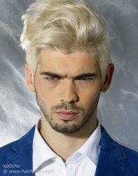 Blonde Mens Hair And A Dark Stubble Beard Men Hair Color Hot