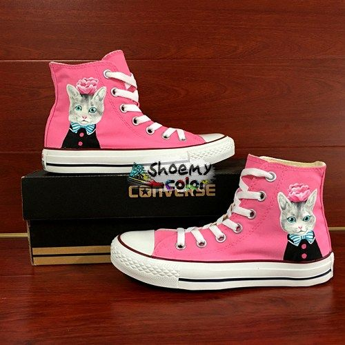 2104a204000b Women Gifts Custom Pink Converse Cat Hand Painted Canvas Sneaker ...