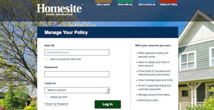 Homesite Insurance Login Homesite Com With Images Home