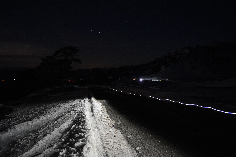 Lightin on the hill road up to V1850 Vasilitsa hut