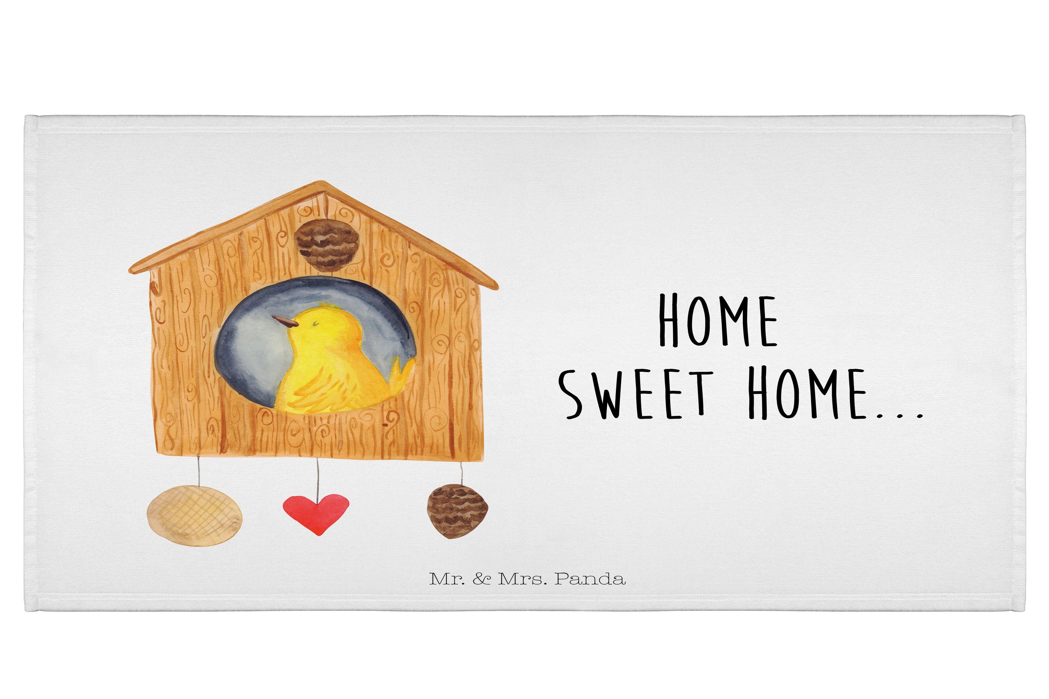 70 x 140 Handtuch Vogelhaus sweet Home aus Kunstfaser  Natur - Das Original von Mr. & Mrs. Panda.  Dieses wunderschöne Handtuch von Mr. & Mrs. Panda hat die Größe 70 x 140 cm und ist perfekt für dein Badezimmer oder als Badehandtuch einsetzbar.    Über unser Motiv Vogelhaus sweet Home  Der kleine Vogel ist mächtig stolz auf sein Vogelhäuschen. Das ist aber auch eine zauberhafte Immobilie... Handgezeichnet von Mrs. Panda in Aquarelle.    Verwendete Materialien  Die verwendete sehr hochwertige…