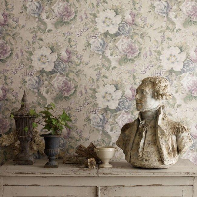 Sanderson tapet Giselle med blomster design, passer til stue, gang ...