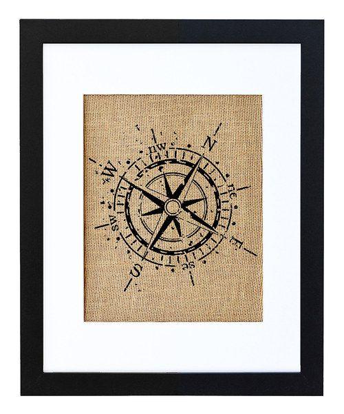 Look at this #zulilyfind! Compass Framed Burlap Print by Fiber and Water #zulilyfinds