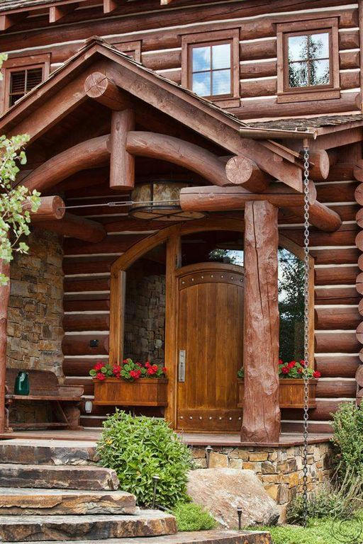 Unique Log Cabin Entry Door