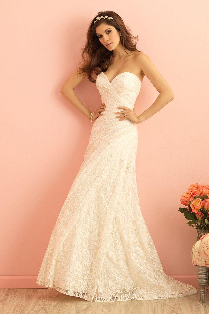 Allure Romance Wedding Dresses Strapless Wedding Dresses Ruched Wedding Dress