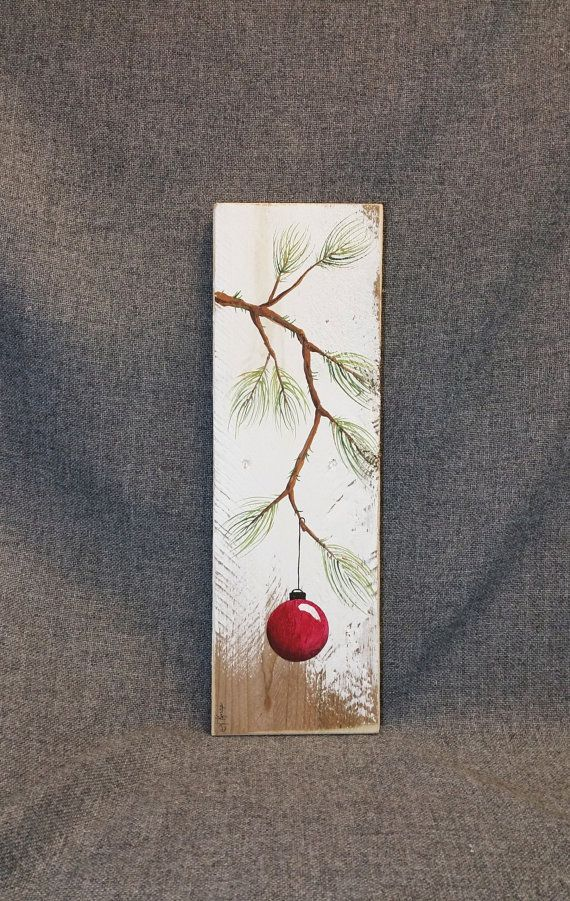 Photo of Red Christmas decoration, Christmas gift, pine branch with red light bulb, hand painted reclaimed Barnwood, Christmas decoration