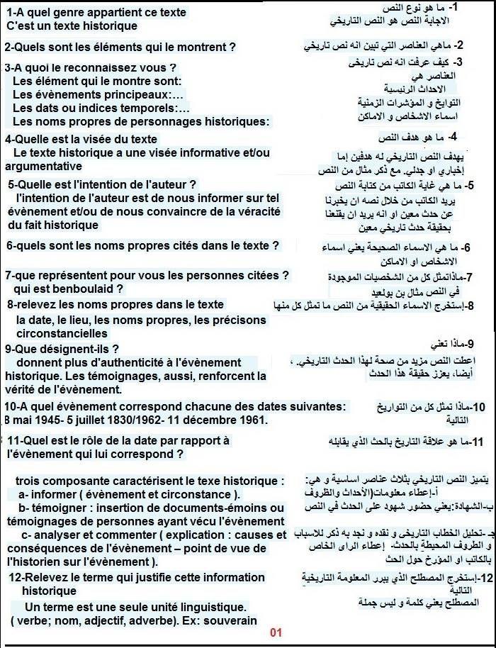 ملخص لدروس و الأسئلة الاكثر تتكرارا في موضوع الفرنسية تحضيرا للبكالوريا الجزائر توداي Education