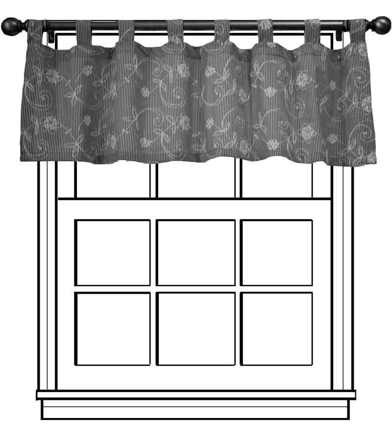 Tab Top Valance In Red Gold Or Black Color Faux Silk Fabric With Embroidery Fleur De Lis Design Window Treatments Made The Usa