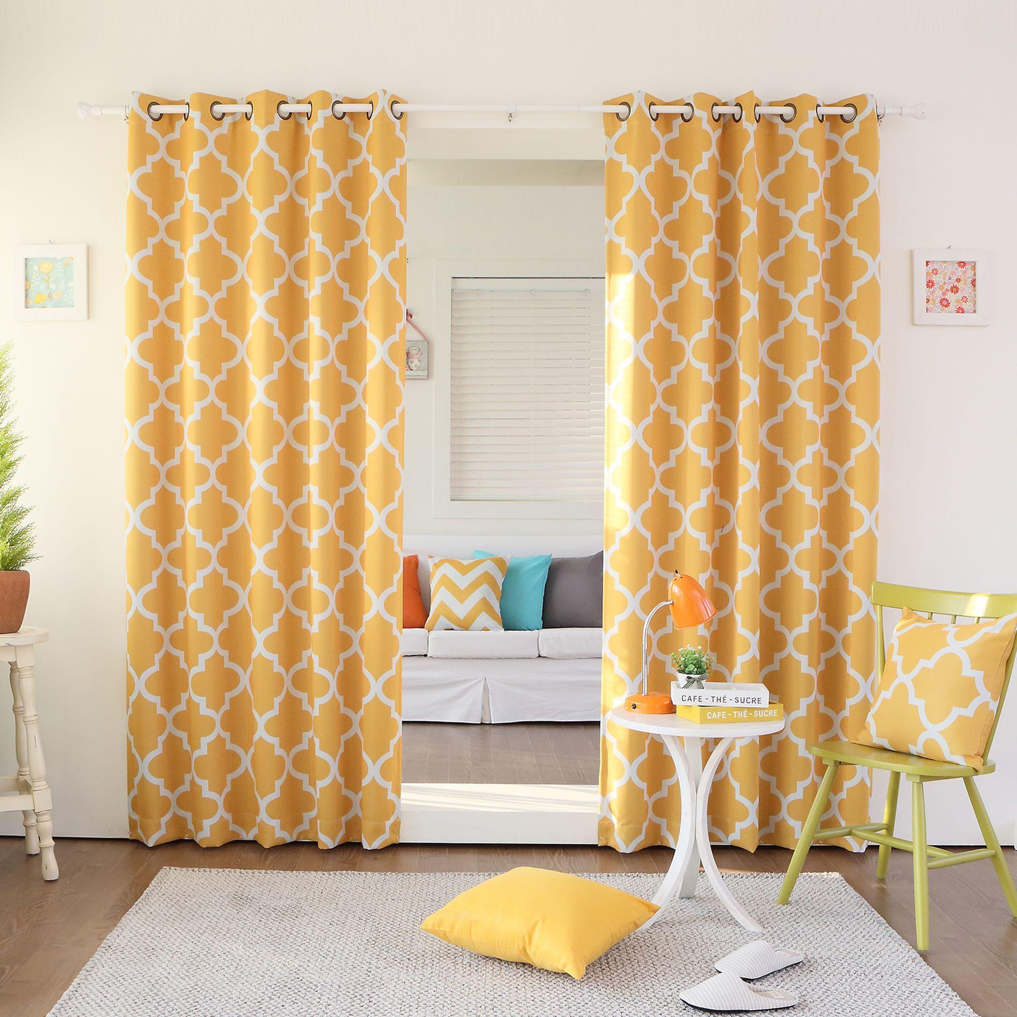 Aurora home moroccan tile inch window curtain panel pair beige