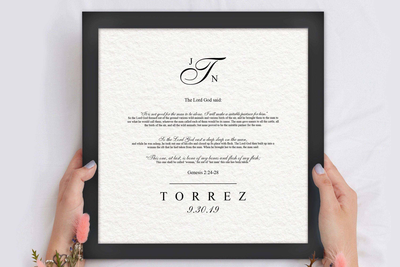 Christian wedding gift framed genisis 22428 in 2020