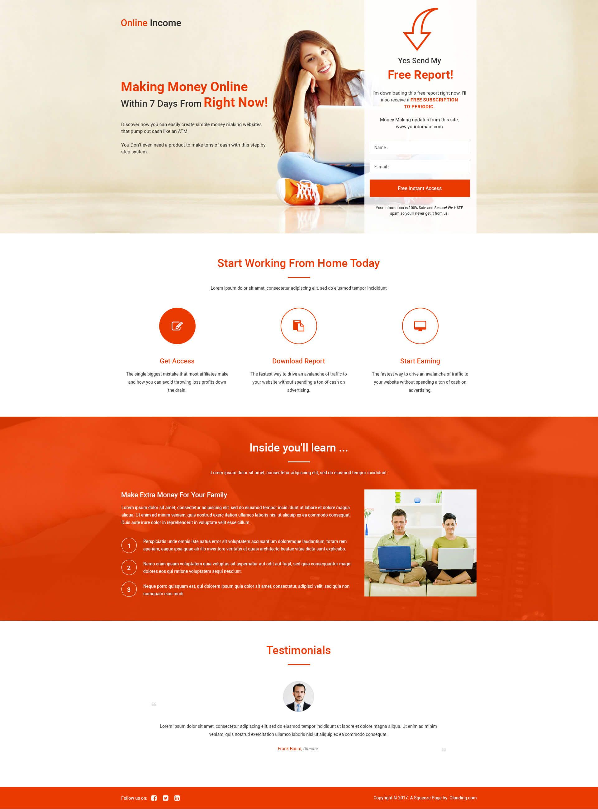 Lead Gen Online Income Squeeze Page Template With Free Landing Page