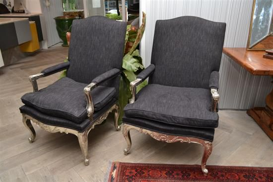 A PAIR OF IMPRESSIVE LOUIS XV STYLE SILVER FINISHED FAUTEUILS UPHOLSTERED I