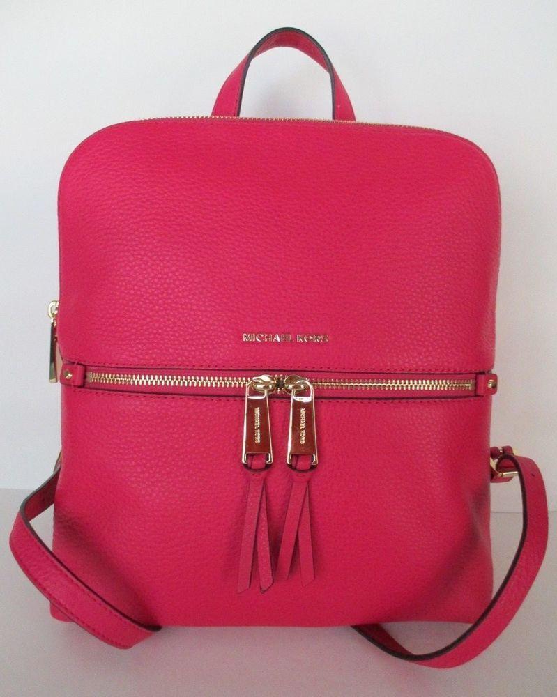 4b9e7fb0bd12 NWT MICHAEL KORS Rhea Medium Slim Backpack in Ultra Pink Leather ...