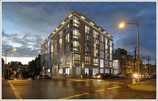 Apartment Building At Night 1601 larkin rendering 2012 night (510×326) corner, night, mid