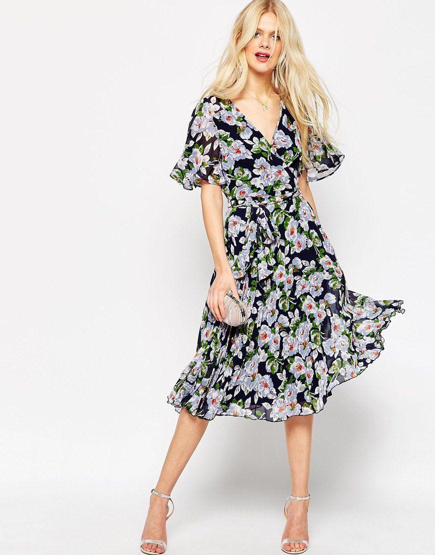image 1 asos robe cache c ur mi longue pliss e fleurs vetement pinterest mi long. Black Bedroom Furniture Sets. Home Design Ideas