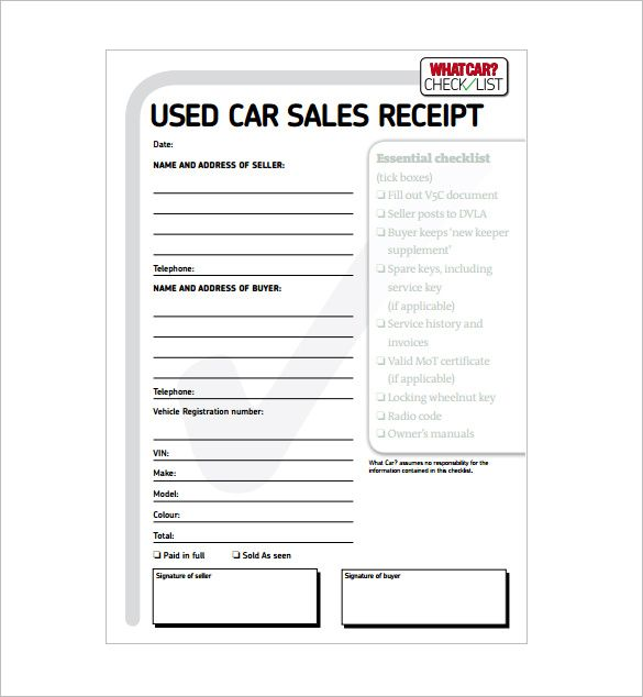 Cash Receipt Template Doc Car Receipt Templates Are Of Great Importance As They Show Financial .