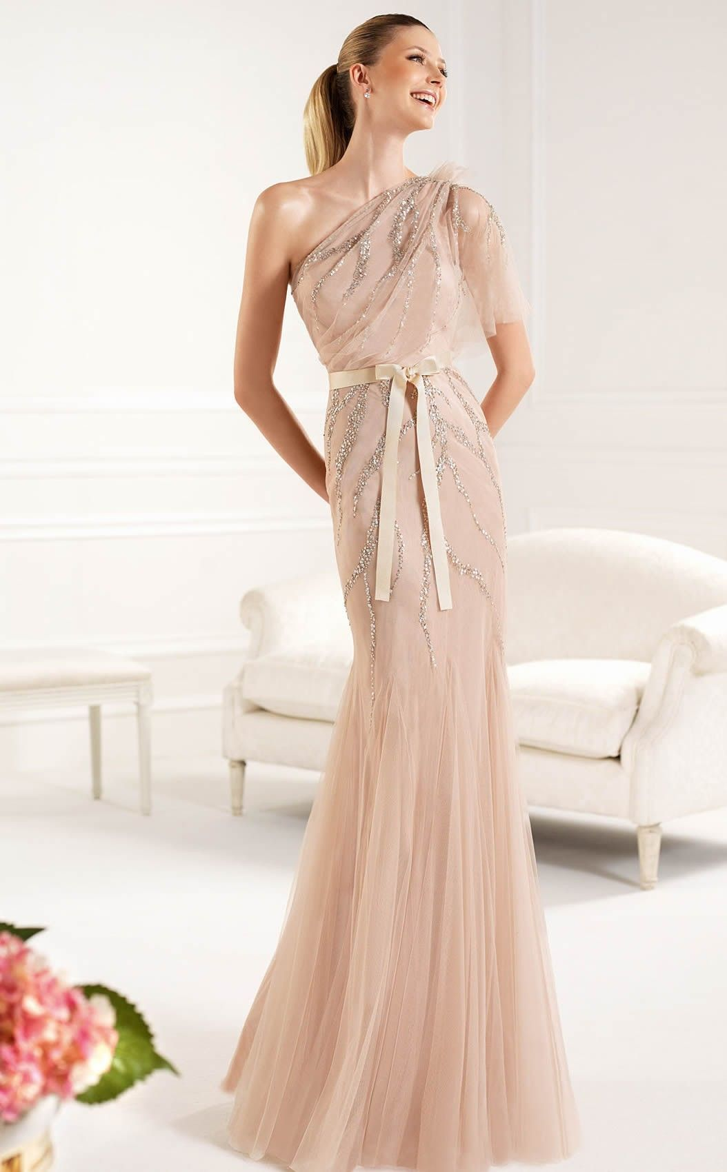 Nude floorlength one shoulder tulle mermaid cocktail dressesprjt