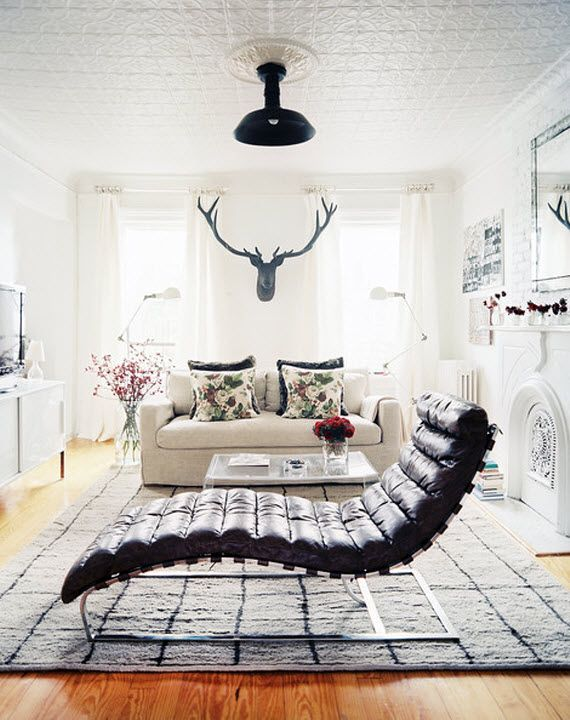 Black And White Living Room With Black Leather Chaise