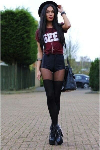 Geek shirt black high waisted shorts leggings cross necklace ...