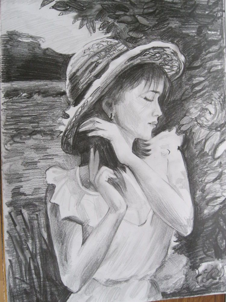 Beautiful girl pencil drawing by ukrainian artist a4 size not print natural draw
