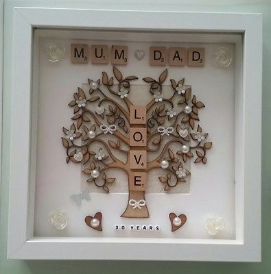 Personalised Handmade Pearl 30th Wedding Anniversary Gift Frame For Mum And Da