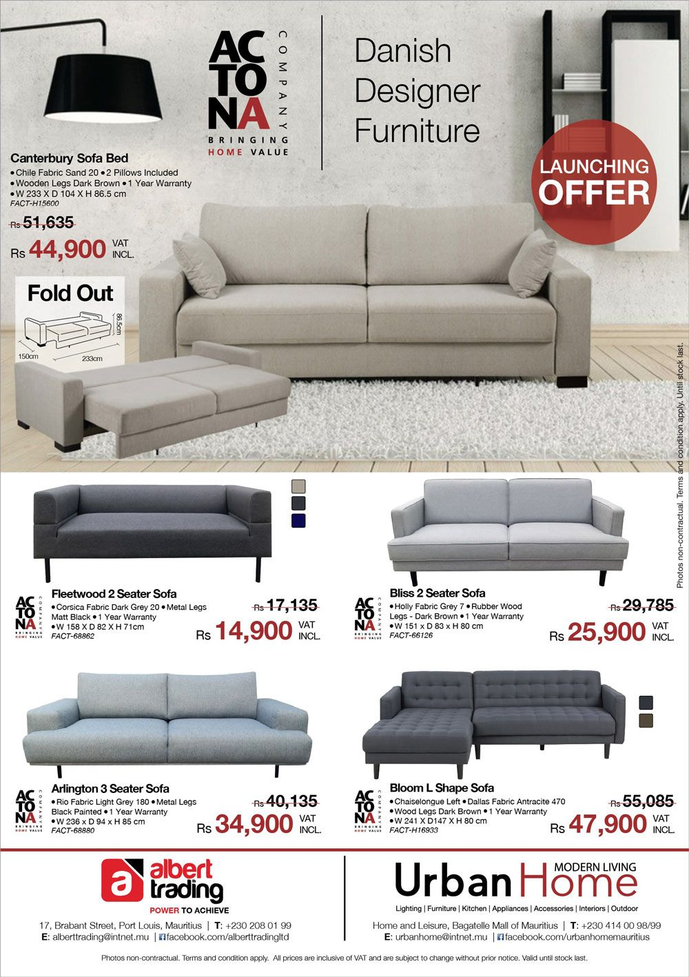 Albert Trading Urban Home New Arrival Actona Sofa Tel 208 0199