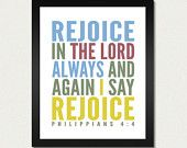 Rejoice in the Lord Always - Bible Print / Scripture Poster / Christian - 8.5x11 Art Print