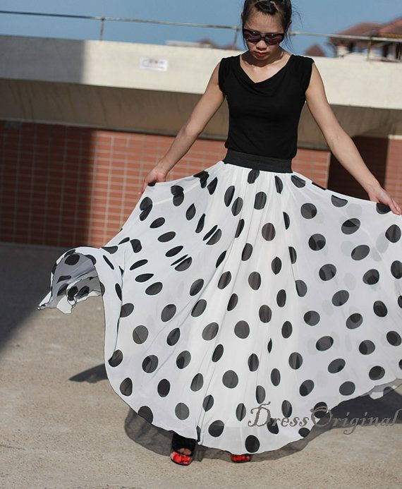 White dotted maxi skirt dress double layered chiffon skirt long skirt Summer skirt floor skirt