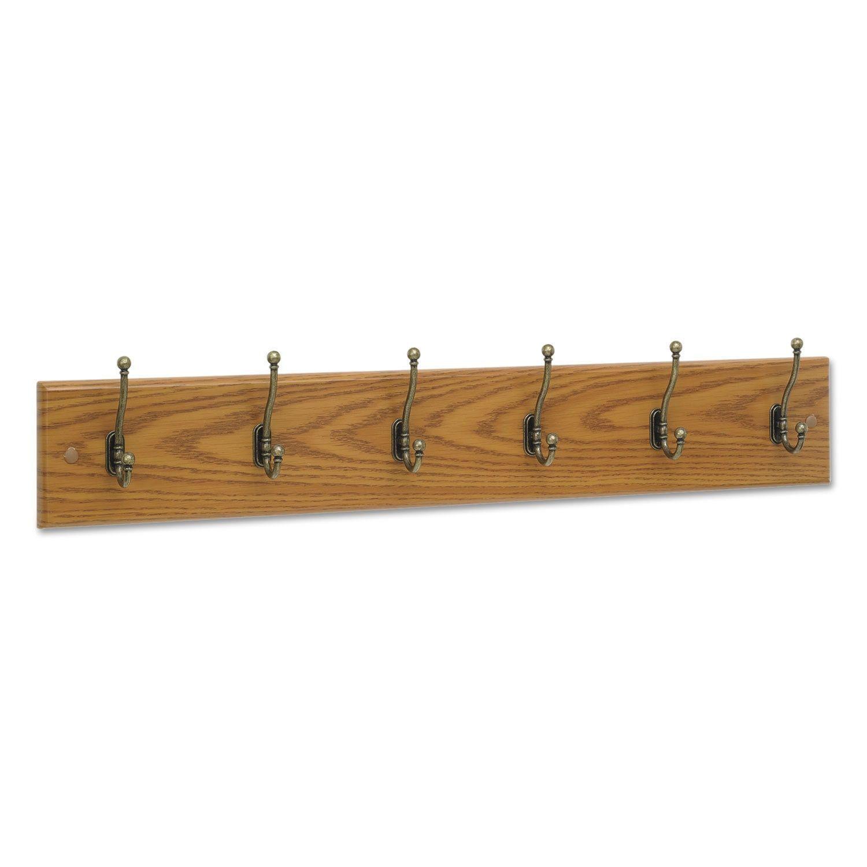 Safco Wood Wall Rack Six Double Hooks
