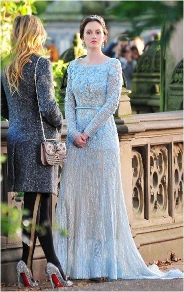 Blair Waldorf wearing a blue ellie saab wedding dress. I won\u0027t lie when