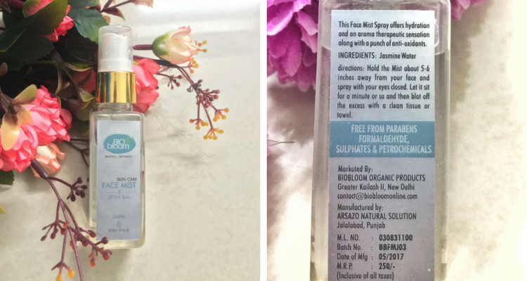 I Recently Got A New Product To Try On It Is Biobloom Jasmine Face Mist A Natural And Organic Product By Biobloom The Brand Name Sounde Face Mist Mists Face