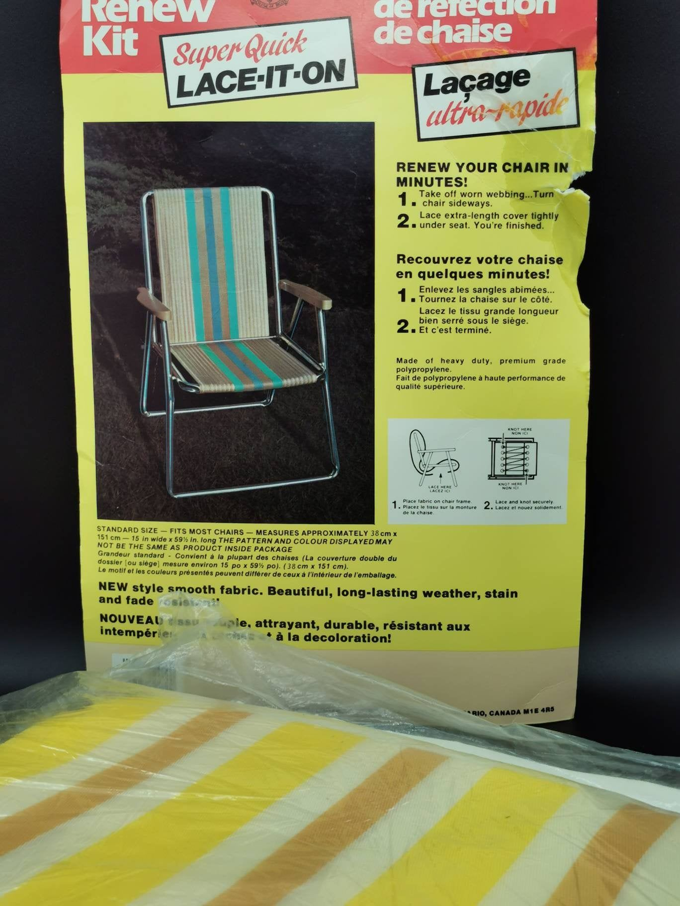vintage 70s lawn chair repair kit lace