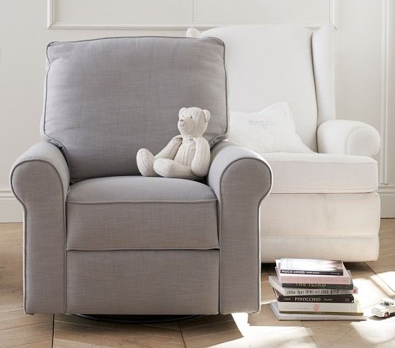 Wingback Glider Amp Manual Recliner Washed Grainsack Gray