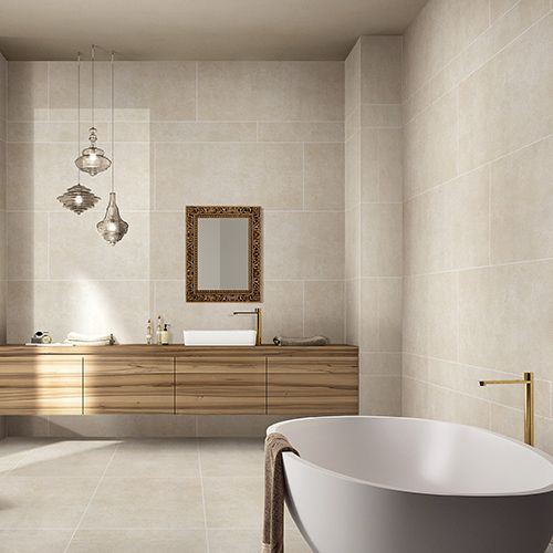 Stunning Large Format Aged Limestone Effect Porcelain Tiles Ideal For  Bathrooms And Wet Rooms. #limestone #porcelain #tiles