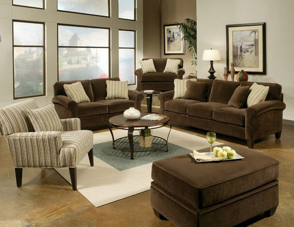 Contemporary living room with brown sofa