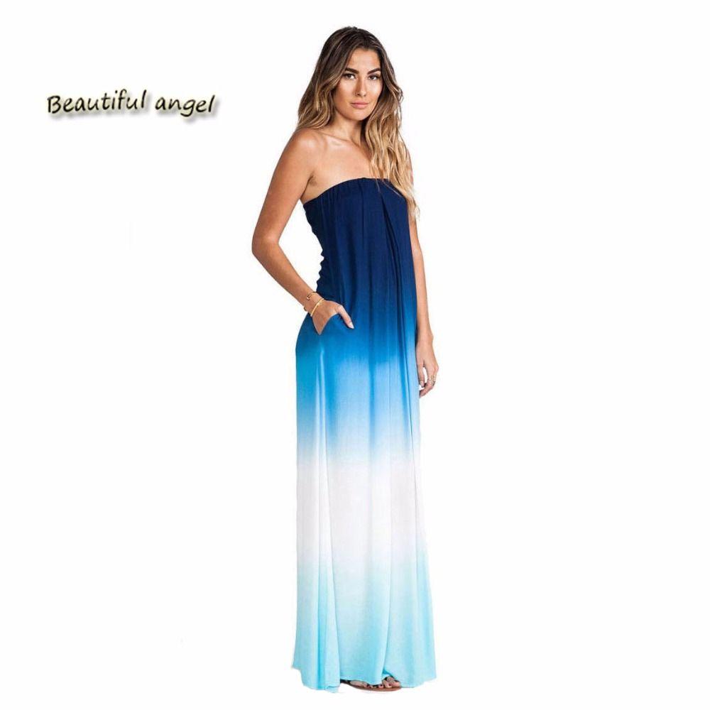 New Chiffon Summer Dress 2017 Wrapped Chest Beach Long Women Dress ...