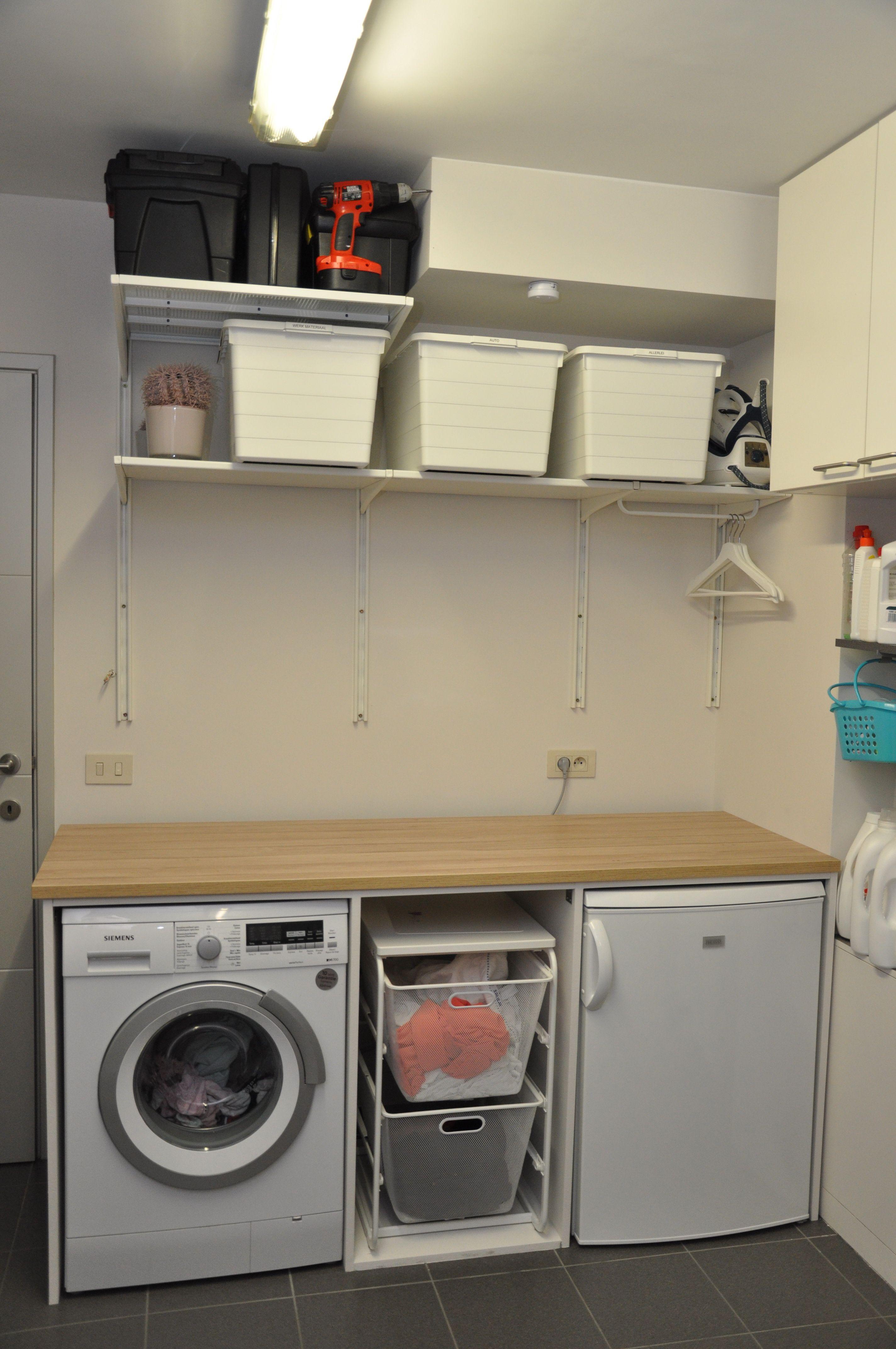 Verrassend Wasplaats. Wasmachine, wasrek en extra frigo ingebouwd. Ikea Algot SH-12