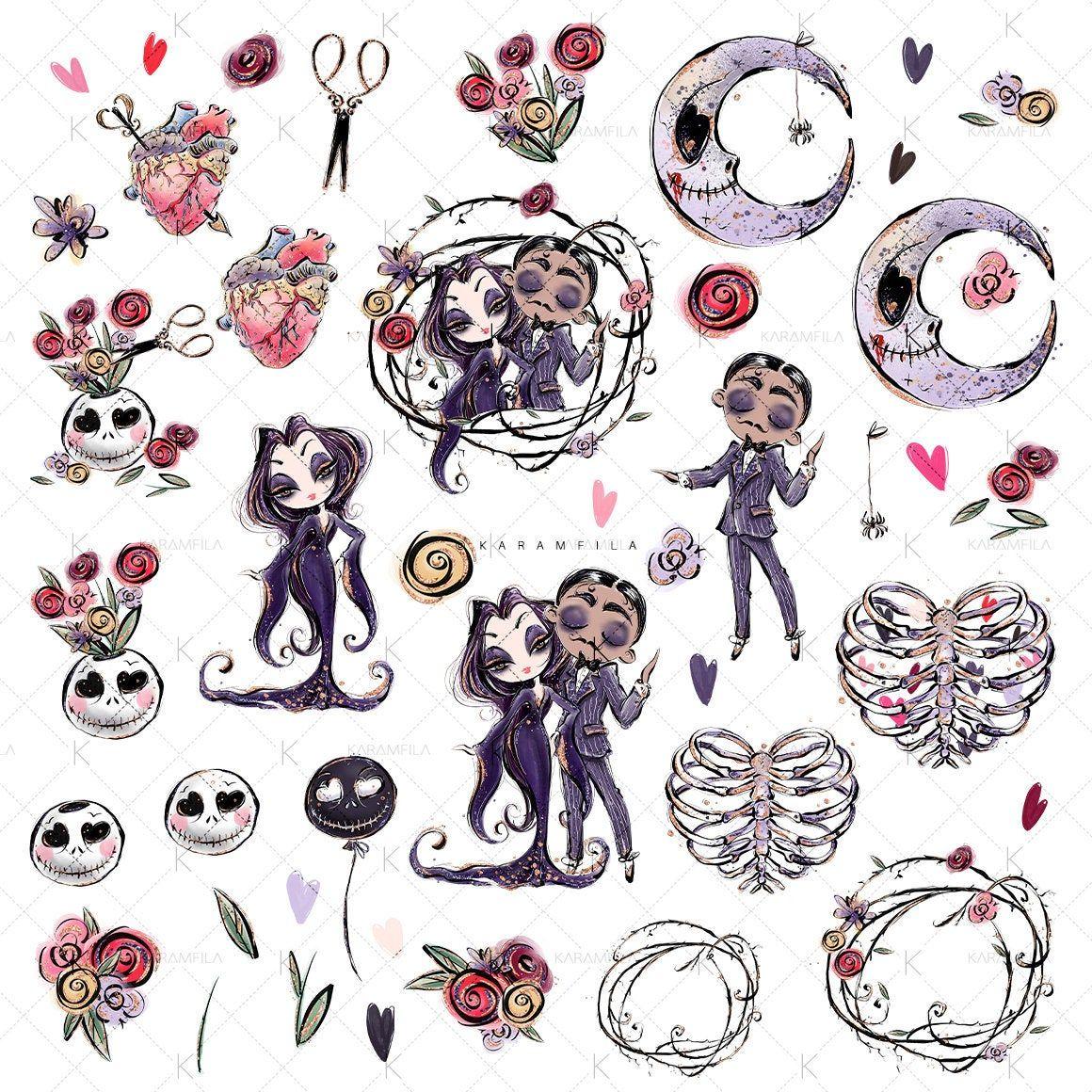 Ofertas Iphone Halloween 2020 Creepy Valentine's Day Clipart, Karamfila's Addams Clipart