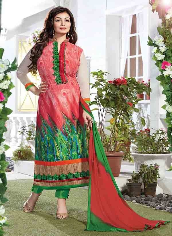 Dreamy Peach & Green Coloured Straight Suit India's leading e-commerce marketplace