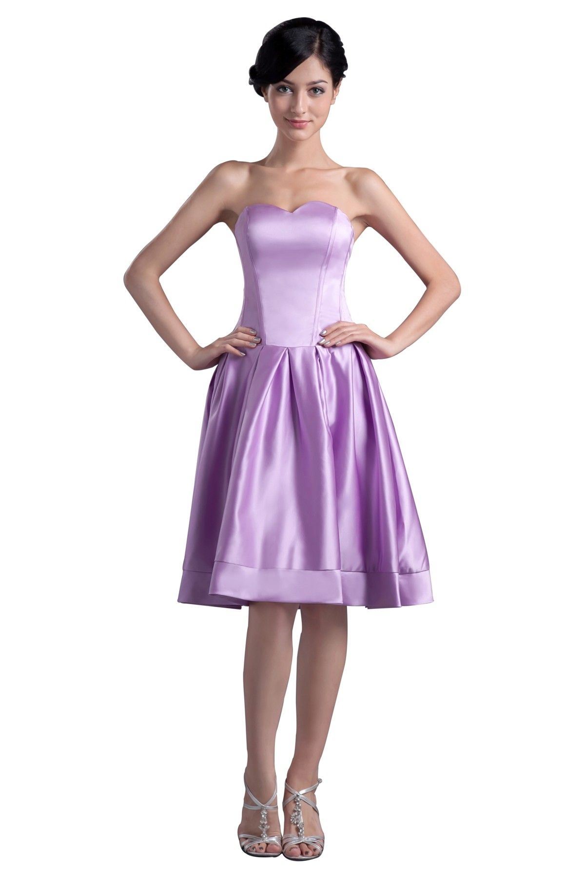 Short prom style wedding dresses  Homecoming Sweetheart Modern Style Satin Bridesmaid Dresses SABD