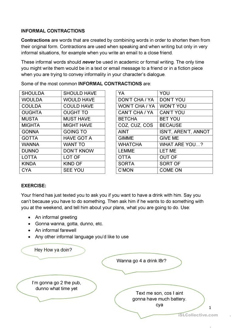 hight resolution of Informal Contractions worksheet - Free ESL printable worksheets made by  teachers   Contraction worksheet