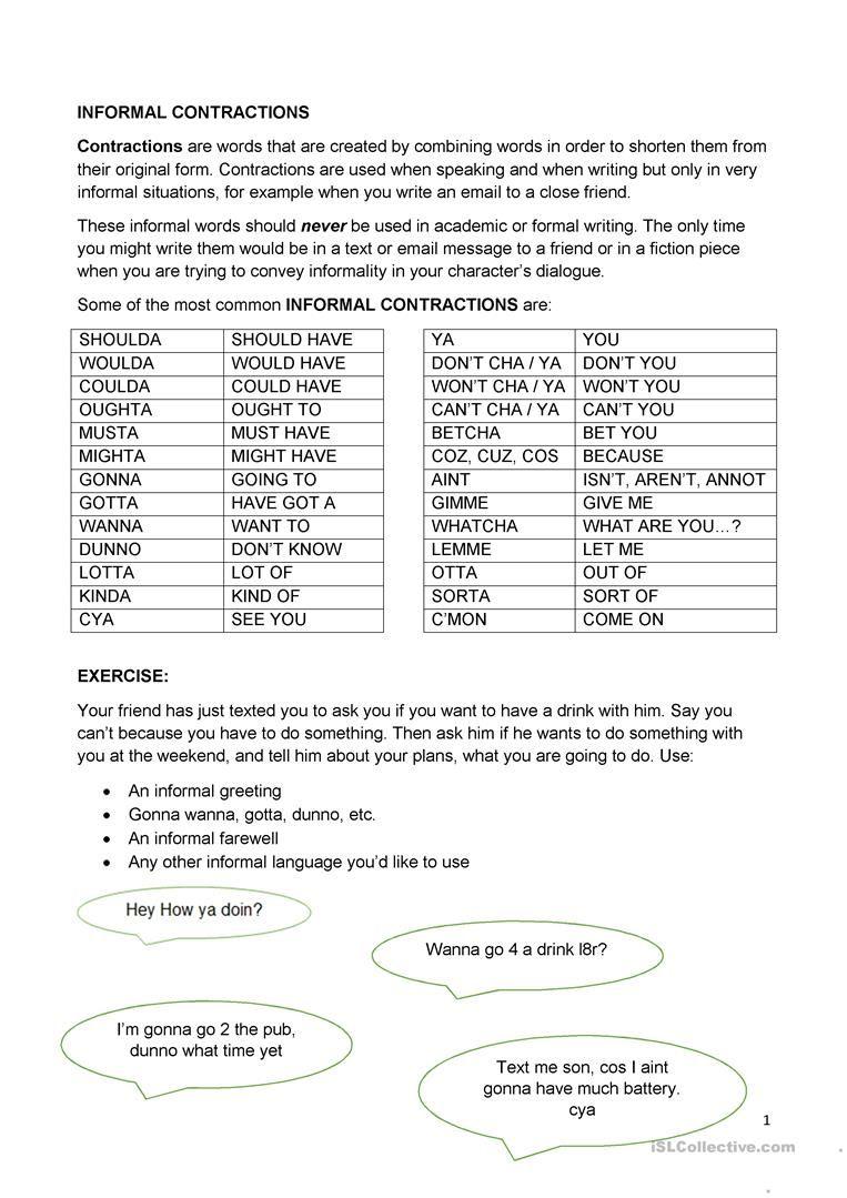 Informal Contractions worksheet - Free ESL printable worksheets made by  teachers   Contraction worksheet [ 1079 x 763 Pixel ]