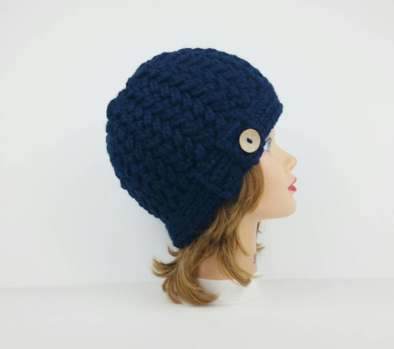 Knit Beanie Hat With Button, Chunky Knit Hat, Women\'s Hats, Navy ...