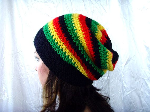 Black, Yellow, Green, Red, Jamaican Cozy Hat Slouchy Beanie Rasta ...
