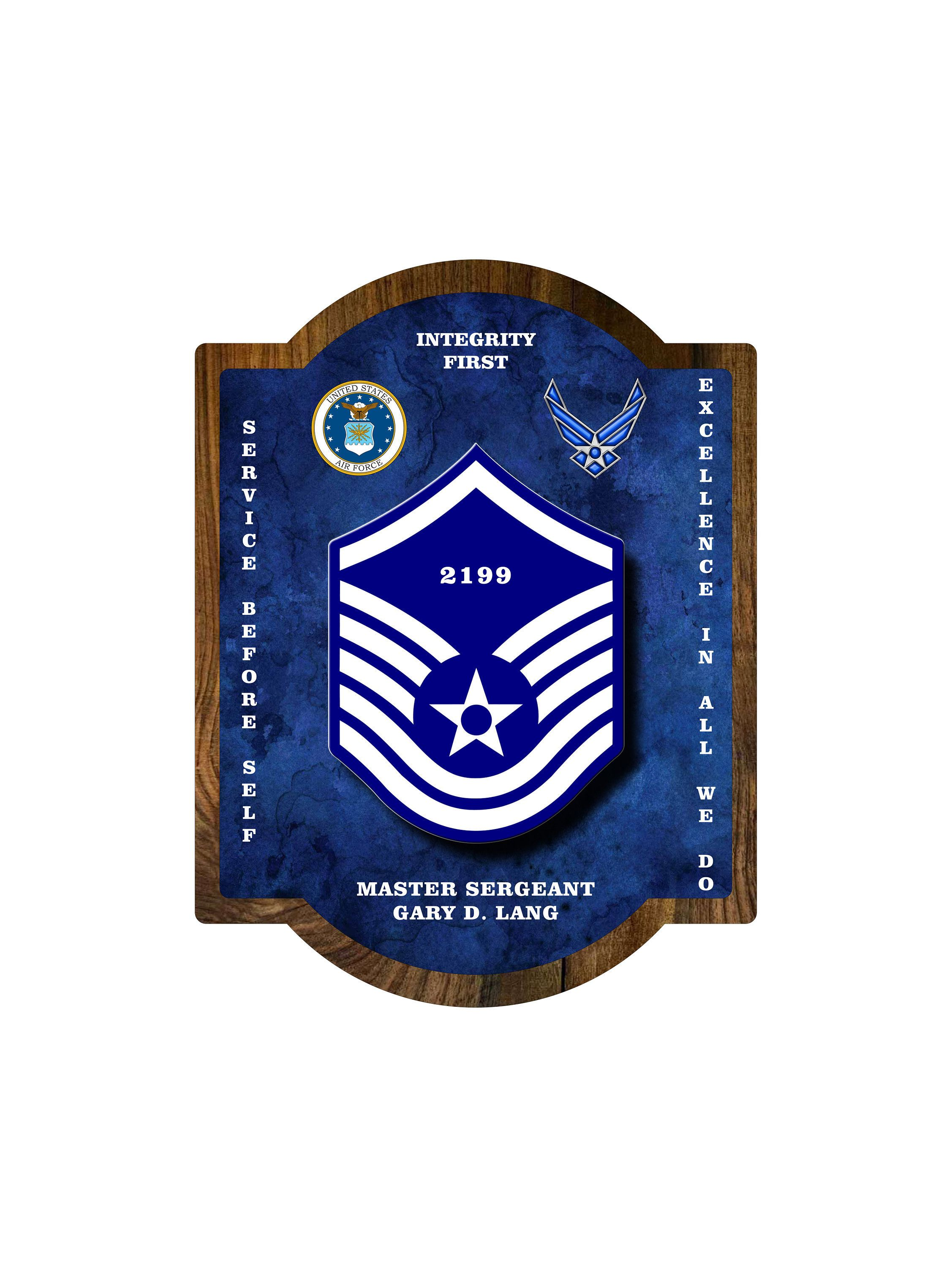 Custom AIR FORCE PLAQUE All Military Ranks Personalized