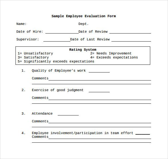Employee Evaluation Form 41 Download Free Documents in PDF - sample employee evaluation form