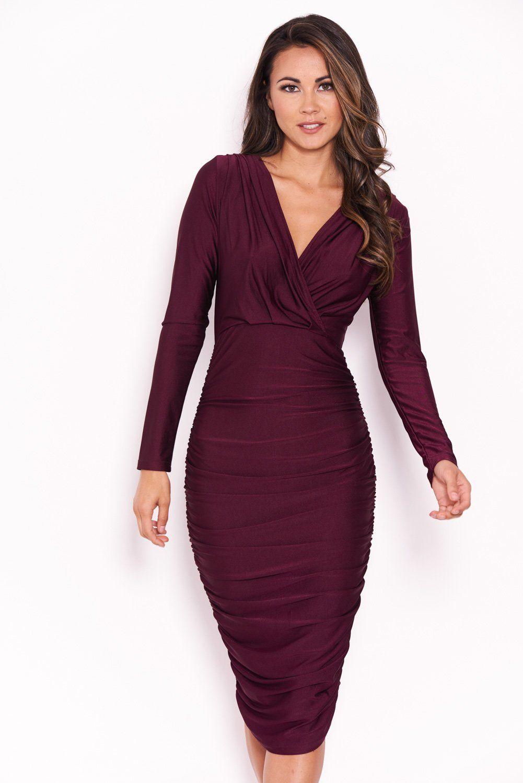 93e59a1ca0e4 Plum Ruched Wrap Dress – AX Paris | Shachi in 2019 | Dresses, Wrap ...