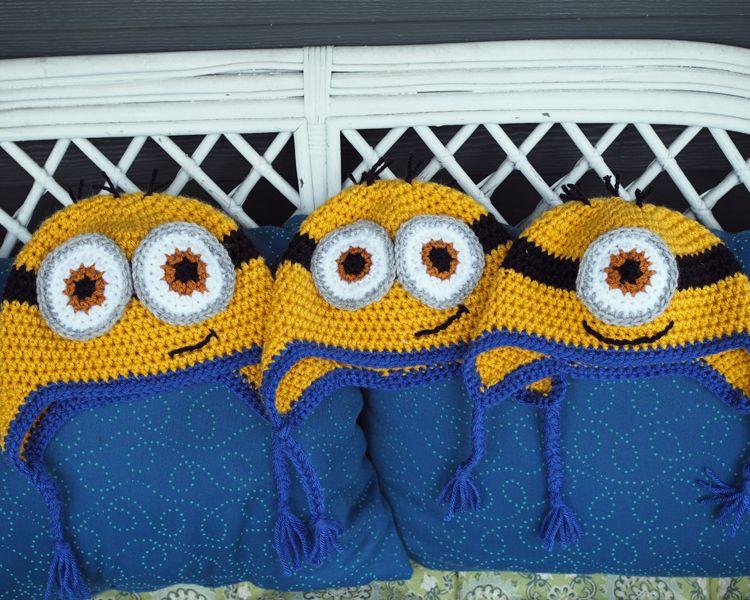 Crochet Minion Hats with Ear Flaps